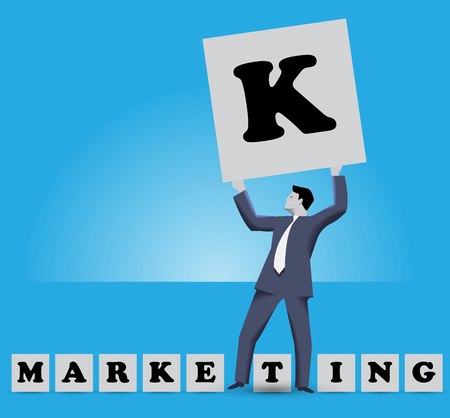 starting a business: Market king business concept. Businessman holding big cube with letter K on it stands among smaller cubes with letters of work MARKETING. All letters are under his feet and he is MARKET KING