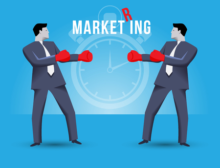 Market ring business concept. Two businessmen standing against each other, wearing boxer gloves and ready to fight. Time is ticking and fight will begin shortly on MARKET RING. Illustration