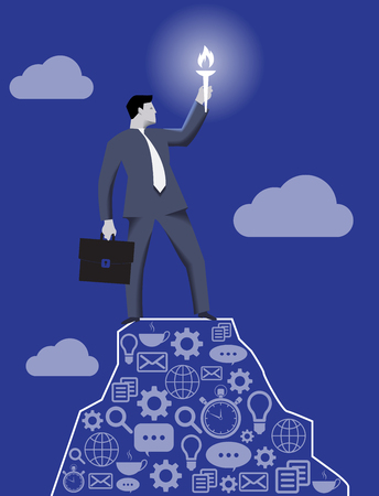 Leading in the darkness business concept. Successful businessman with case and burning torch on the top of the mountain, looking around and searching for new opportunities and targets.