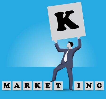 e market: Market king business concept. Businessman holding big cube with letter K on it stands among smaller cubes with letters of work MARKETING with E and T letters under his foot. He is MARKET KING Illustration