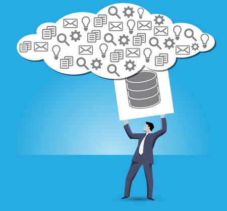 decentralized: Putting data into cloud business concept. Confident businessman trying to put a big cube with databases sign on it into big information cloud. Internet marketing, big data, decentralized data storage.