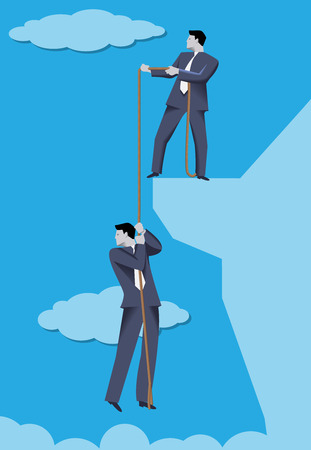 Colleague support business concept. Confident businessman holding his not so lucky colleague on the rope over abyss. Symbol of support, teamwork and help during hard crisis times.
