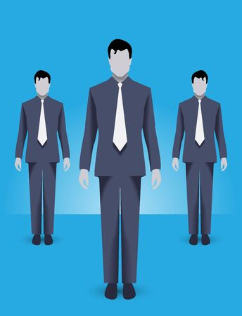 Business concept of teamwork and business special forces team. Three businessmen wearing corporate uniform standing together, working together and helping each other.