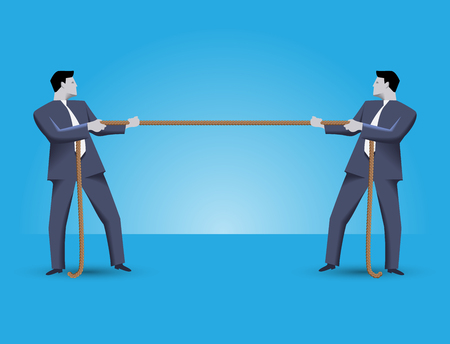 business rival: Fight for market share business concept. Two businessmen in suits standing against each other, pulling a rope. Every businessman is trying to overcome his rival.