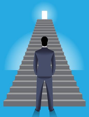 Corporate ladder business concept. Young confident businessman stands in front of big ladder with shining door on top of it. Concept of career, growth and corporate success.