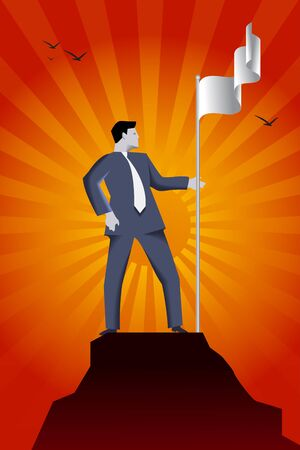 market share: Business concept of reaching success peak and claiming ground. Confident businessman in suit setting flag of his team on the top of the mountain, claiming the ground and conquering his market share.