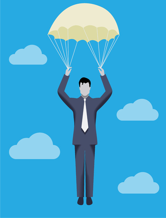 rope way: Business concept of golden parachute. Chief executive falling down with golden parachute symbolizing financial success and good profit even in crisis times.