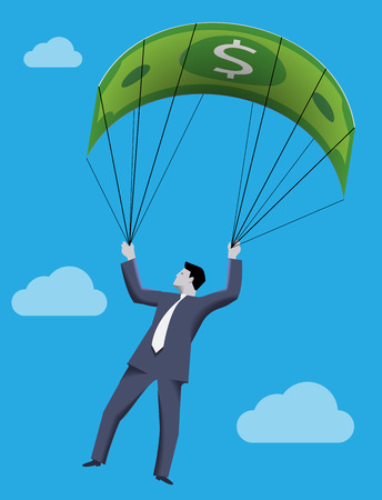 Business concept of golden parachute. Chief executive falling down with dollar bill parachute symbolizing financial success and good profit even in crisis times.
