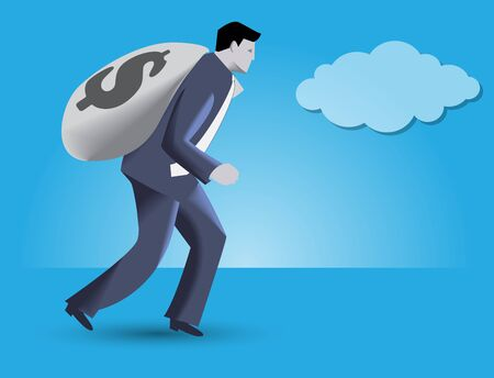 Kings ransom business concept. Confident businessman in business suit carrying big bag with dollar sign on it - concept of financial success and good profit.