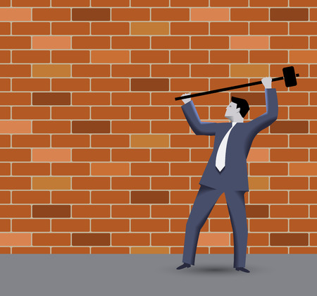 break in: Breaking the rules business concept. Confident businessman in business suit with sledgehammer in grey regulated world trying to break the wall of rules and to find new opportunities and targets