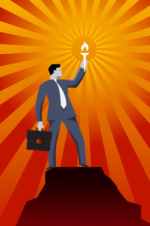 Leading in the darkness business concept. Successful businessman in business suit with case and burning torch on the top of the mountain, looking around and searching for new opportunities and targets Illustration