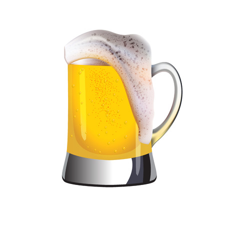 topped: Realistic mug of cold golden beer topped with foam with water drops and air bubbles isolated on white background.
