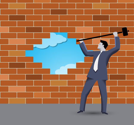 new rules: Breaking the wall business concept. Confident businessman in business suit with sledgehammer in grey regulated world trying to break the wall of rules and to find new shining opportunities Illustration