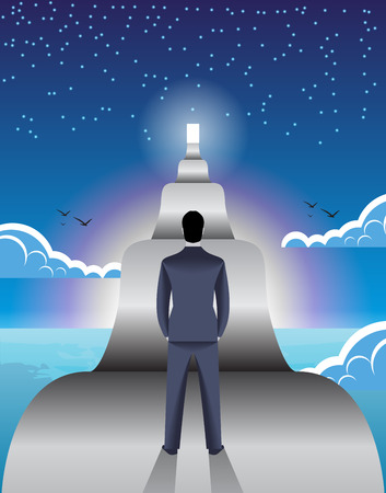 Long road ahead business concept. Young confident businessman stands in front of long road with shining door at the end of it. Concept of career, growth and corporate success.