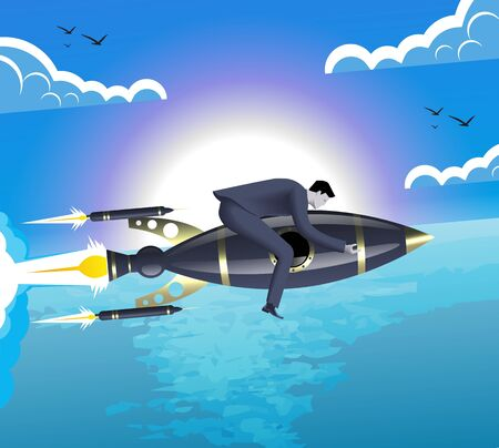 With the rocket speed business concept. Confident businessman flying on the top of the rocket above the surface of the ocean. Concept of handling fast changing business environment.