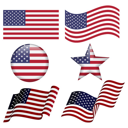 Set of USA flag designs isolated on white background. Flat USA flag. Waving USA flag, Round USA flag design. Star USA flag desing.