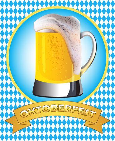 misted: Oktoberfest poster design. Misted mug of golden beer on traditional oktoberfest pattern.