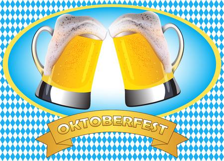 misted: Oktoberfest poster design. Two misted mugs of golden beer clashing together on traditional oktoberfest pattern.