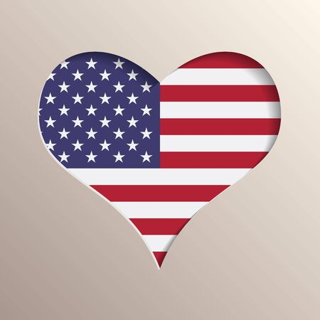 multilayer: Multilayer 3D like picture of heart with USA flag on background