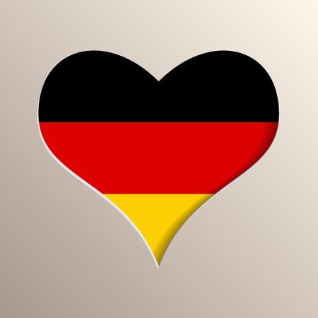 multilayer: Multilayer 3D like picture of heart with Germany flag on background Illustration