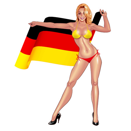national women of color day: Beautiful lady in bikini with waving Germany flag isolated on white background.