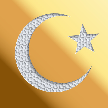Islamic greeting card with golden background and 3D crescent and star. Greeting card template for Ramadan, Eid al Fitr-festival of breaking of the fast, Eid al-Adha-festival of sacrifice Illustration