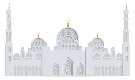Beautiful islamic mosque drawn in gray and gold and isolated on white background. Greeting card template for Ramadan, Eid al Fitr-festival of breaking of the fast, Eid al-Adha-festival of sacrifice