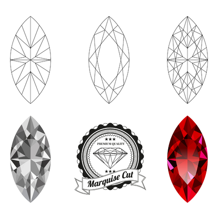 Set of marquise cut jewel views isolated on white background. Marquise cut jewel top and bottom views. Marquise cut realistic ruby. Marquise cut realistic diamond. Marquise cut badge.