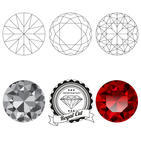 ruby: Set of royal cut jewel views isolated on white background - top view, bottom view, realistic ruby, realistic diamond and badge. Can be used as part of icon, web decor or other design.
