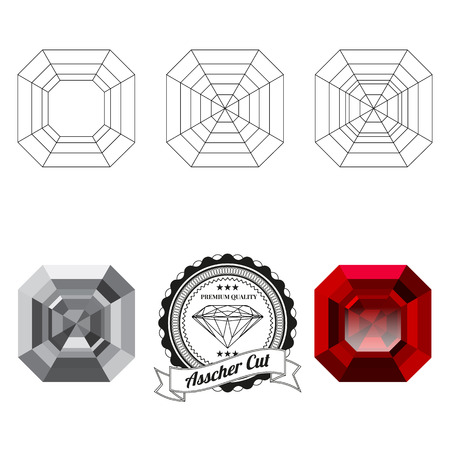asscher cut: Set of asscher cut jewel views isolated on white background - top view, bottom view, realistic ruby, realistic diamond and badge. Can be used as part of icon, web decor or other design.