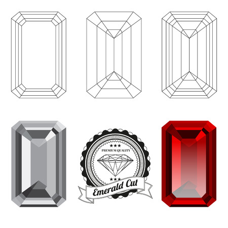 emerald stone: Set of emerald cut jewel views isolated on white background - top view, bottom view, realistic ruby, realistic diamond and badge. Can be used as part of icon, web decor or other design. Illustration