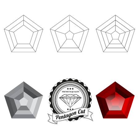 Set of pentagon cut jewel views isolated on white background - top view, bottom view, realistic ruby, realistic diamond and badge. Can be used as part of icon, web decor or other design.