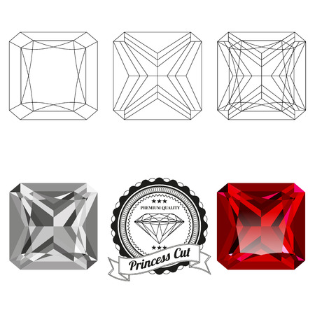 Set of princess cut jewel views isolated on white background - top view, bottom view, realistic ruby, realistic diamond and badge. Can be used as part of icon, web decor or other design.