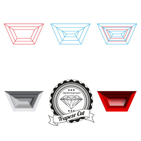trapeze: Set of trapeze cut jewel views isolated on white background - top view, bottom view, realistic ruby, realistic diamond and badge. Can be used as part of icon, web decor or other design.