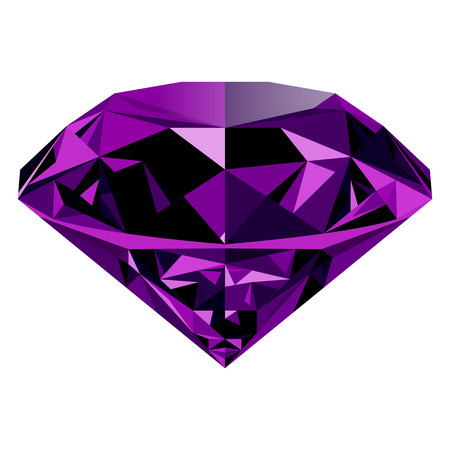 Realistic shining purple amethyst jewel isolated on white background. Colorful gemstone that can be used as part of icon, web decor or other design. Illustration