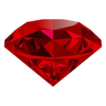 흰색 배경에 고립 현실적인 빨간색 루비입니다. 빛나는 붉은 보석, 화려한 보석. 아이콘, 웹 장식 또는 다른 디자인의 일부로 사용할 수 있습니다.