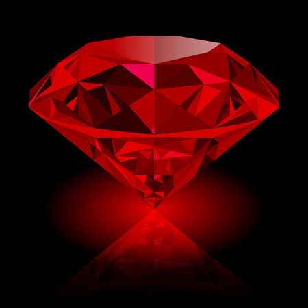 Realistic red ruby with reflection and red glow isolated on black background. Shining red jewel, colorful gemstone. can be used as part of icon, web decor or other design. Stock Illustratie
