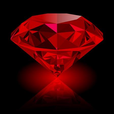 Realistyczny czerwony rubin z odbiciem i czerwieni łuną odizolowywającymi na czarnym tle. Błyszczący czerwony klejnot, kolorowy kamień. może być używany jako część ikony, wystroju strony internetowej lub innego projektu.