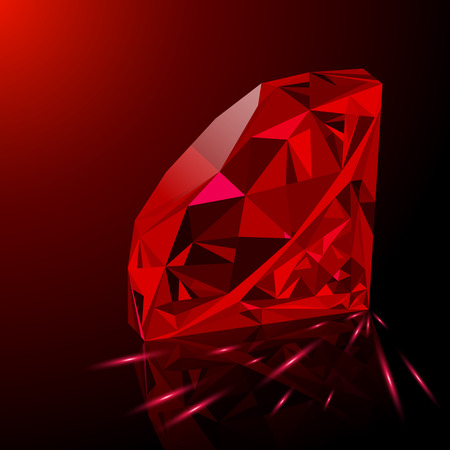 Réaliste brillant joyau rouge rubis avec la réflexion, lueur rouge et la lumière des étincelles sur fond dégradé. peut être utilisé dans le cadre de l'icône, décor web ou un autre design. Vecteurs
