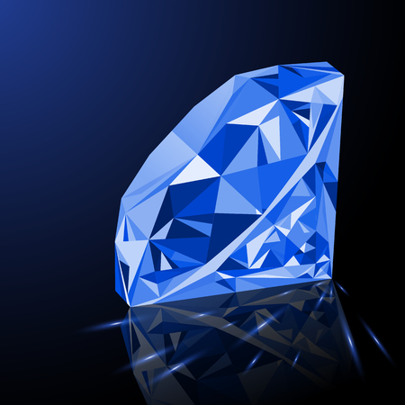 amethyst: Realistic shining blue amethyst jewel with reflection, blue glow and light sparks on gradient background. Colorful gemstone that can be used as part of icon, web decor or other design. Illustration