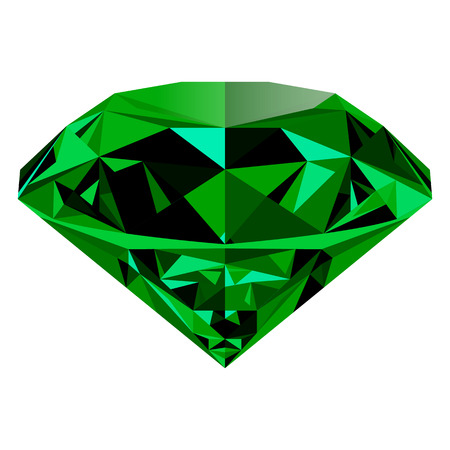 Realistic shining green emerald jewel isolated on white background. Colorful gemstone that can be used as part of icon, web decor or other design.  イラスト・ベクター素材