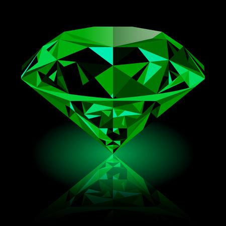 Realista joya brillante de color verde esmeralda con la reflexión y brillo verde aislado sobre fondo negro. piedra preciosa de colores que se puede utilizar como parte de icono, decoración web o de otro diseño.