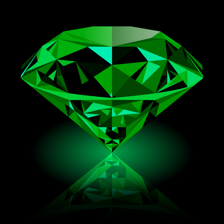 emerald stone: Realistic shining green emerald jewel with reflection and green glow isolated on black background. Colorful gemstone that can be used as part of icon, web decor or other design.