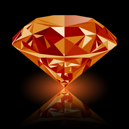 Realistic shining orange topaz jewel with reflection and orange glow isolated on black background. Colorful gemstone that can be used as part of icon, web decor or other design. Illustration