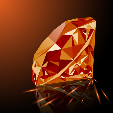 Realistic shining orange topaz jewel with reflection, orange glow and light sparks on gradient background. Colorful gemstone that can be used as part of icon, web decor or other design.