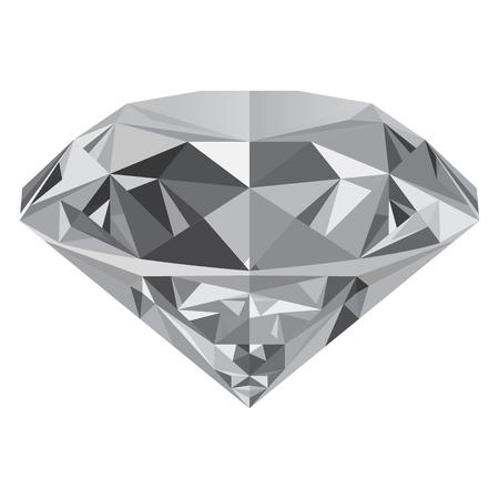 Realistische glanzende witte diamant jewel op een witte achtergrond. Kleurrijke edelstenen die kunnen worden gebruikt als onderdeel van het pictogram, web decor of een ander ontwerp.