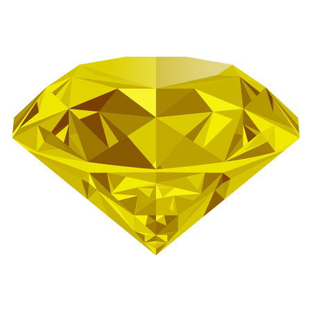 Realistic shining yellow topaz jewel isolated on white background. Colorful gemstone that can be used as part of icon, web decor or other design.