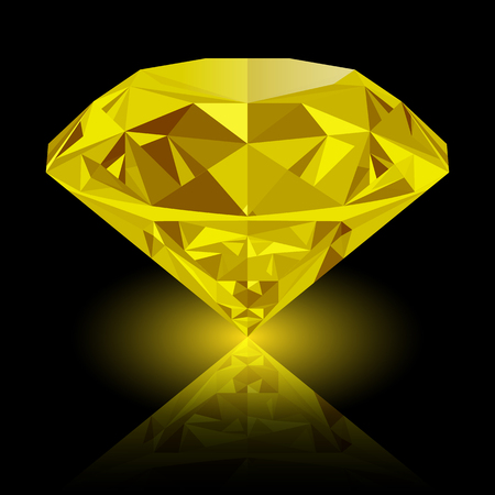gemstone: Realistic shining yellow topaz jewel with reflection and yellow glow isolated on black background. Colorful gemstone that can be used as part of icon, web decor or other design.