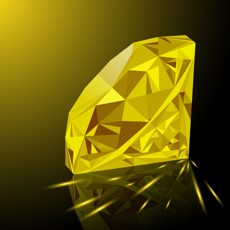 Realistic shining yellow topaz jewel with reflection, yellow glow and light sparks on gradient background. Colorful gemstone that can be used as part of icon, web decor or other design.