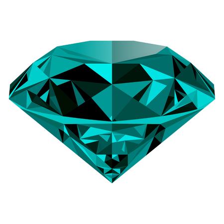 Realista brillante esmeralda joya verde aislado en el fondo blanco. piedra preciosa de colores que se puede utilizar como parte de icono, decoración web o de otro diseño. Foto de archivo - 64720860